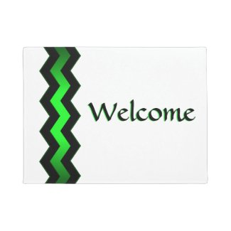 Crisp Modern Green Accent Welcome Doormat