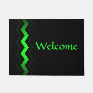 Crisp Modern Green Accent Welcome Doormat