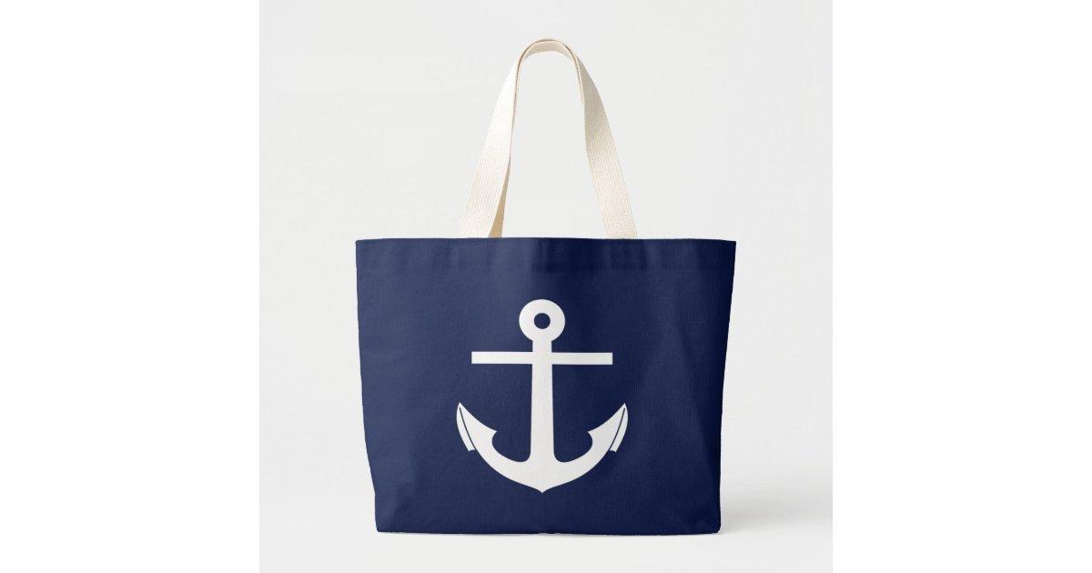 Crisp Nautical Anchor Jumbo Beach Bag | Zazzle