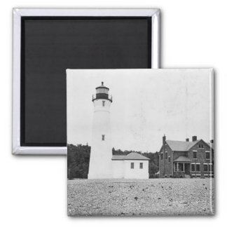Crisp Point Lighthouse 2 Inch Square Magnet