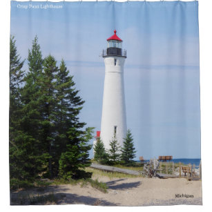 Crisp Point Lighthouse Shower Curtain