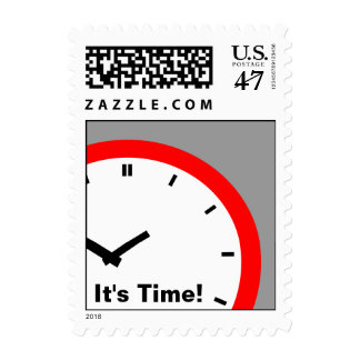 "Crisp Retro Clock Face ""It's Time"" Postage Stamps"