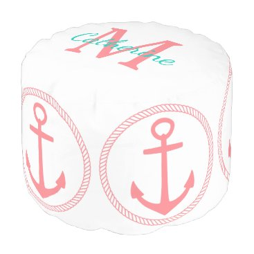 Beach Themed crisp White and Coral Pink Anchors Monogram Pouf