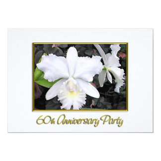 "Crisp White Orchids Anniversary Party 60 5"" X 7"" Invitation Card"