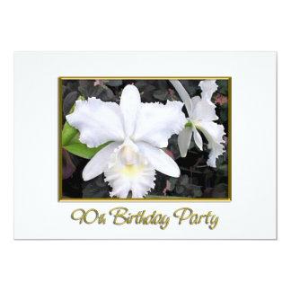 Crisp White Orchids Birthday Party 90 5x7 Paper Invitation Card