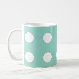 Crisp White Polka Dots on Cool Aqua Classic White Coffee Mug