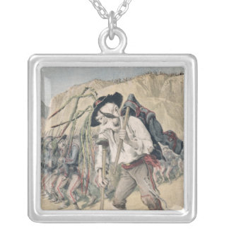 Crispi's Defeat caricature Silver Plated Necklace