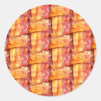 Crispy Bacon Weave Pattern Classic Round Sticker