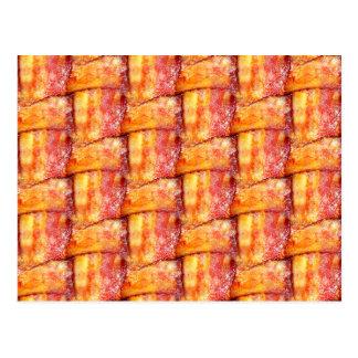 Crispy Bacon Weave Pattern Postcard