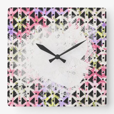 Criss cross diamond shaped colourful patterned square wall clock