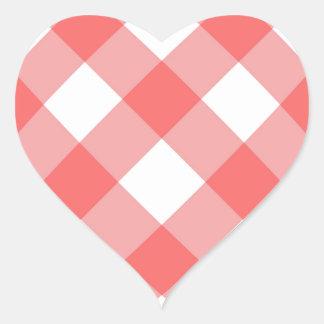 Criss cross gingham background heart sticker