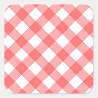 Criss cross gingham pattern square sticker