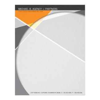 Criss Cross   Gray + Orange Modern Letterhead