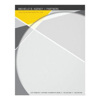 Criss Cross   Gray + Yellow Modern Letterhead