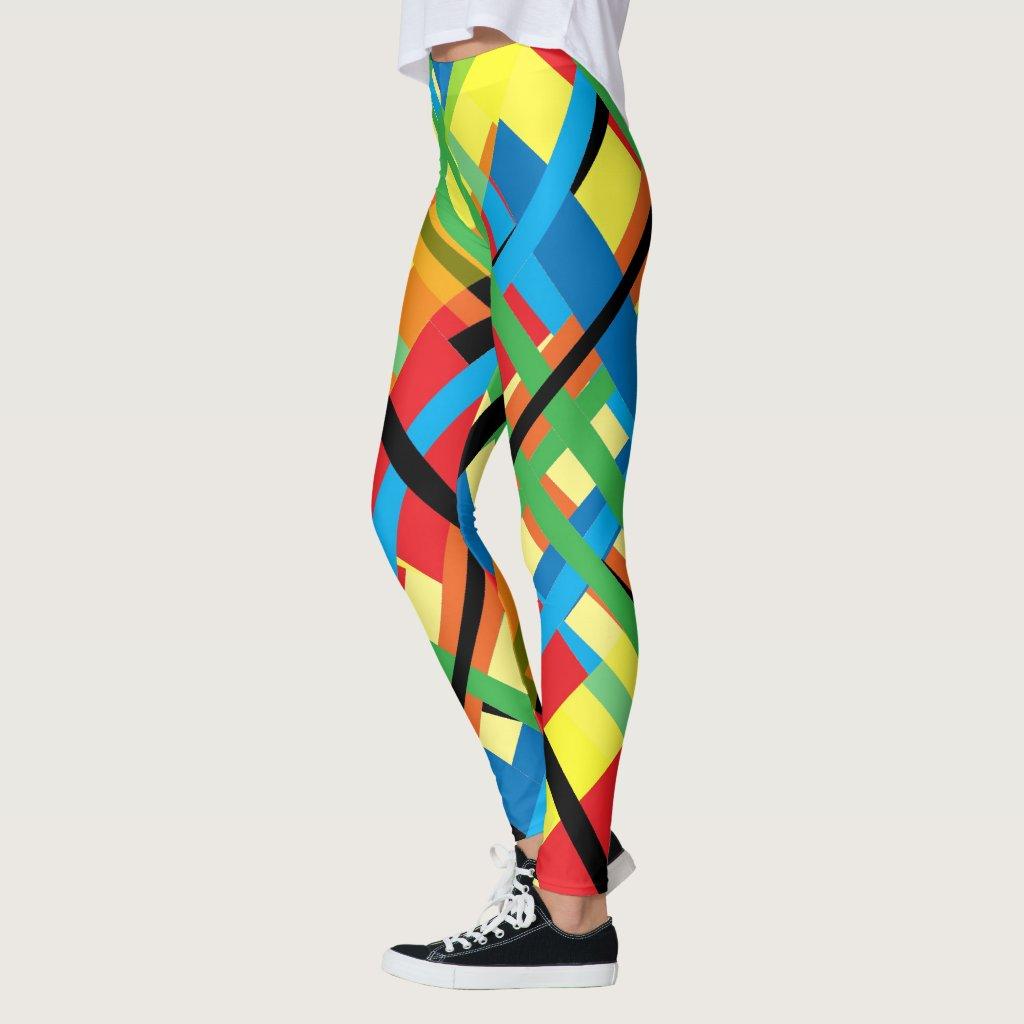 Crisscross Stripes Abstract Pattern Leggings