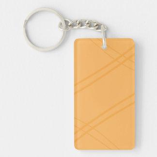Crissed amarillo-naranja cruzado llavero rectangular acrílico a una cara