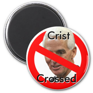 Crist-Crossed 2 Inch Round Magnet