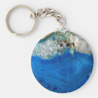 cristal azul llavero redondo tipo pin