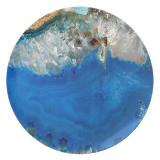 cristal azul platos para fiestas