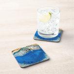 cristal azul posavasos de bebidas