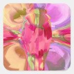 Cristal color de rosa de la mariposa pegatina cuadrada