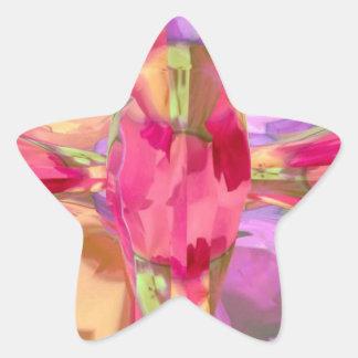 Cristal color de rosa pegatina en forma de estrella