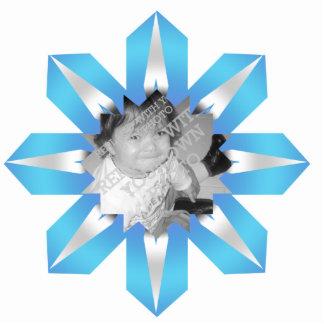 Cristal-como el ornamento del navidad del copo de  fotoescultura vertical