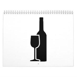Cristal de botellas de vino calendario de pared