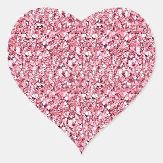 Cristal de Druzy - rosa del cuarzo color de rosa Pegatina En Forma De Corazón