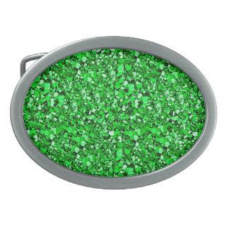 Cristal de Druzy - verde esmeralda Hebillas Cinturon Ovales