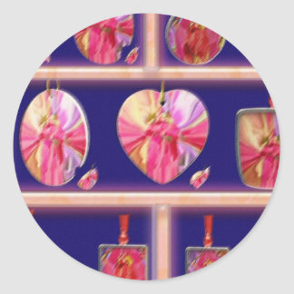 Cristal del diamante: Pétalos de RedRose PinkRose Etiquetas Redondas