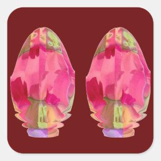 Cristal del diamante: Pétalos de RedRose PinkRose Calcomanías Cuadradass