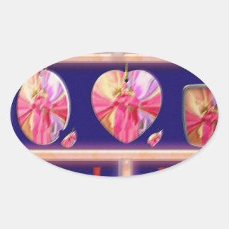 Cristal del diamante: Pétalos de RedRose PinkRose Calcomania Oval Personalizadas