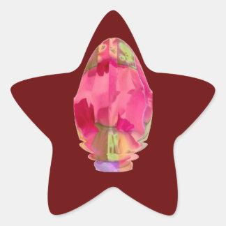 Cristal del diamante: Pétalos de RedRose PinkRose Pegatina En Forma De Estrella
