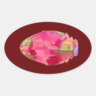 Cristal del diamante: Pétalos de RedRose PinkRose Colcomanias Oval Personalizadas
