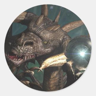 Cristal del dragón etiqueta redonda