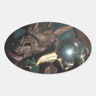 Cristal del dragón pegatina óval personalizadas