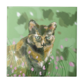 Cristal el gato salvaje tejas  cerámicas