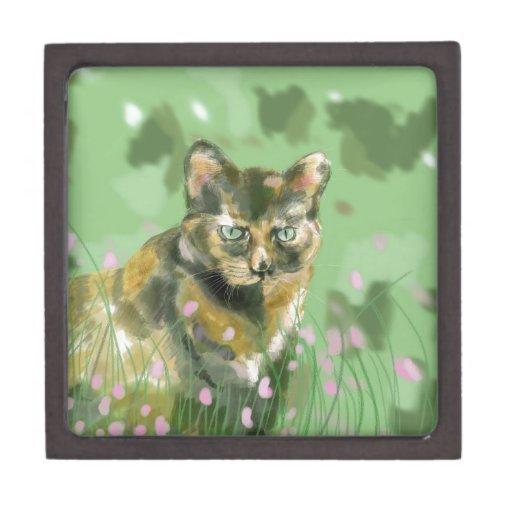 Cristal el gato salvaje caja de joyas de calidad