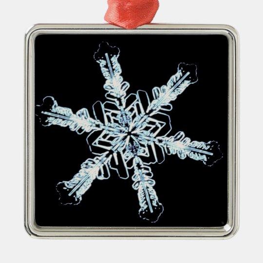 Cristal estelar de la nieve adorno navideño cuadrado de metal