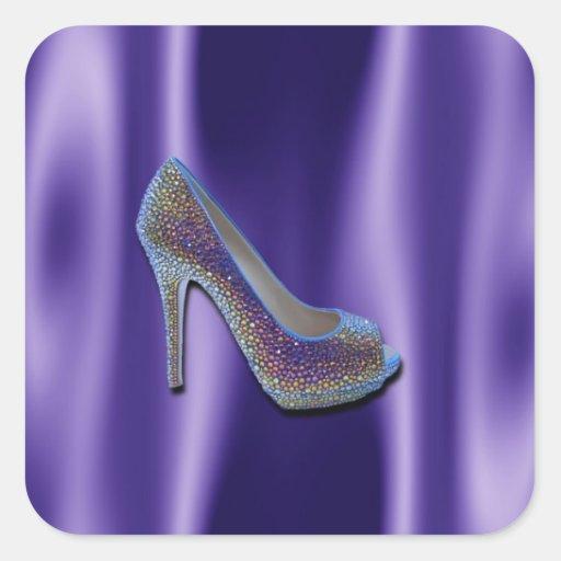 Cristal púrpura del zapato del tacón alto del pegatina cuadrada