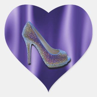 Cristal púrpura del zapato del tacón alto del pegatina en forma de corazón
