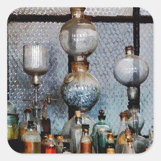 Cristalería de laboratorio pegatina cuadrada