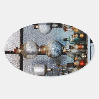 Cristalería de laboratorio pegatina ovalada