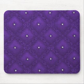Cristales claros en fondo púrpura acolchado tapetes de ratón