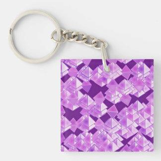 Cristales de la pirámide, púrpuras llavero cuadrado acrílico a doble cara