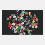 Cristales y piedras preciosas brillantes pegatina rectangular