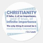 Cristianismo - de la importancia infinita pegatina redonda