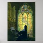 Cristianismo del vintage, monja que juega música e impresiones
