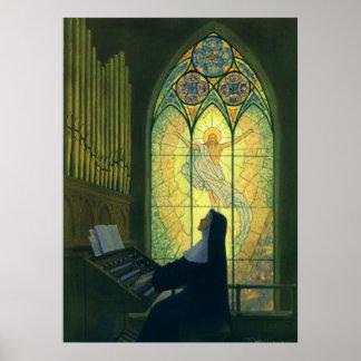 Cristianismo del vintage, monja que juega música impresiones